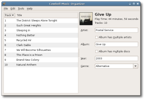 Cowbell-Screenshot-music organizer ubuntu