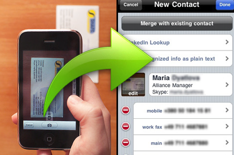 4 useful business card scanner apps for iphone enfew reheart Gallery