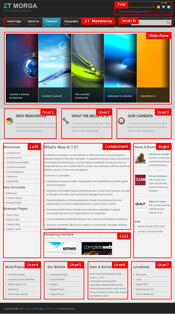 7 creative business templates for joomla 1 6 enfew for Joomla backend templates