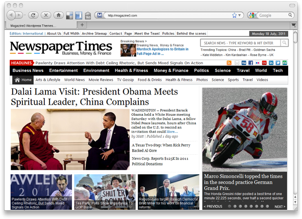 NewspaperTimes Business-Politics WordPress Newspaper Magazine Theme