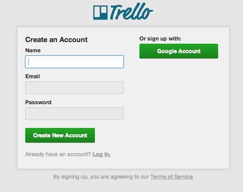 Sign in Trello