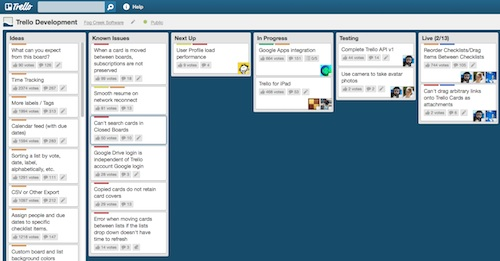 Trello development board