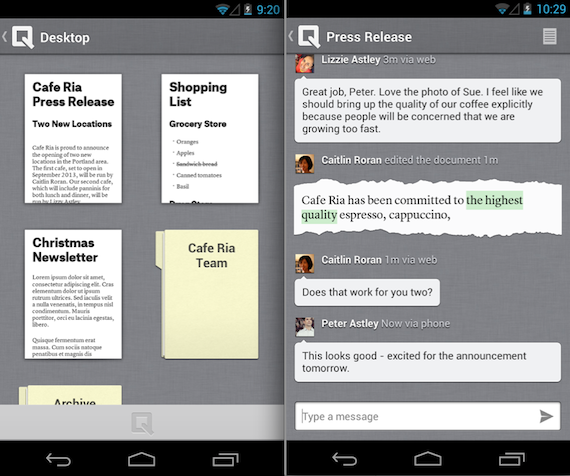 Quip Android application