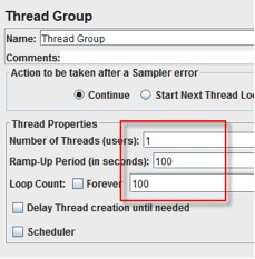 JMeter thread group configuration