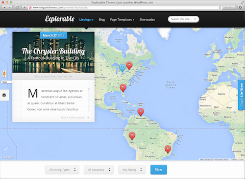 Elegnt Explorable Theme WordPress