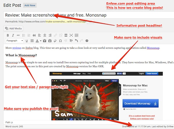 Enfew blog post editing with monosnap